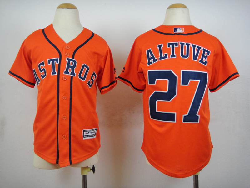 Youth MLB Houston Astros 27 Jose Altuve Orange 2015 Jerseys