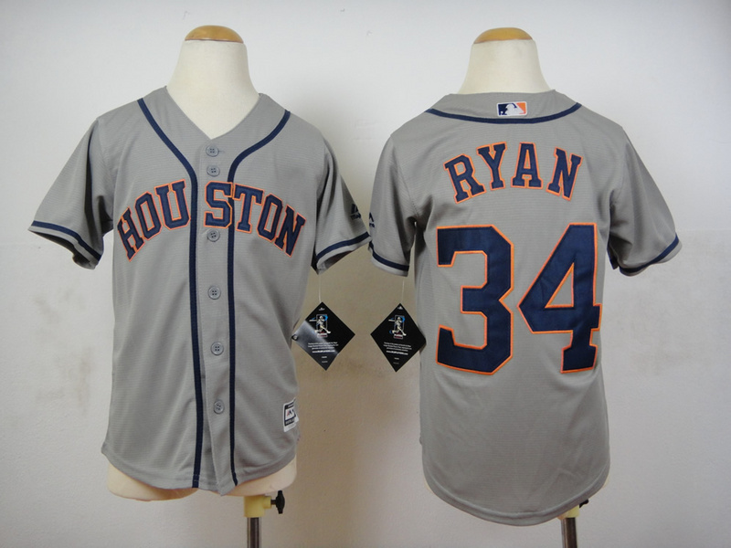 Youth MLB Houston Astros 34 Nolan Ryan Grey 2015 Jerseys