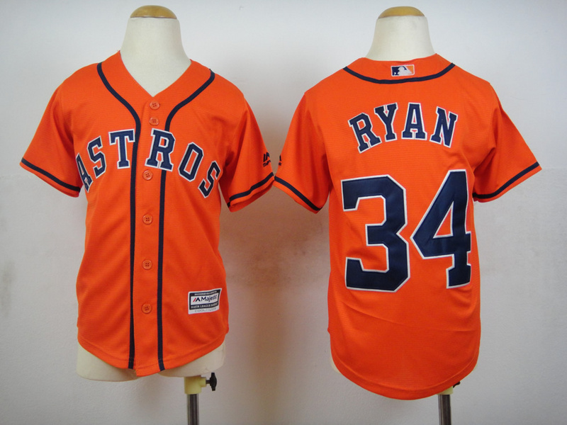 Youth MLB Houston Astros 34 Nolan Ryan Orange 2015 Jerseys