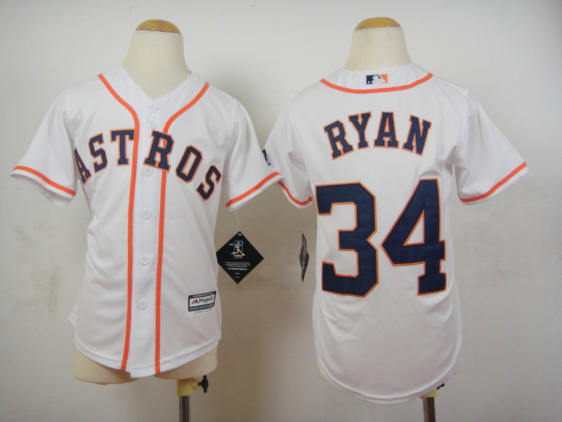 Youth MLB Houston Astros 34 Nolan Ryan White 2015 Jerseys