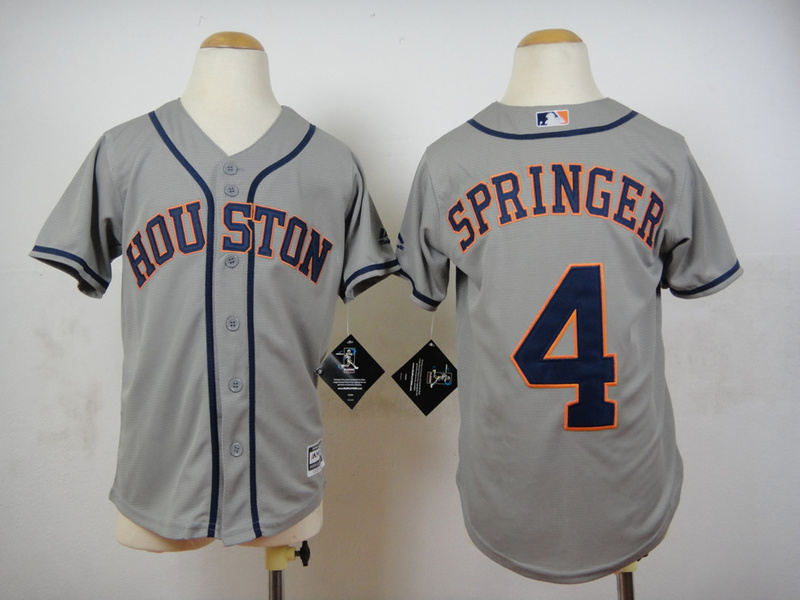 Youth MLB Houston Astros 4 George Springer Grey 2015 Jerseys