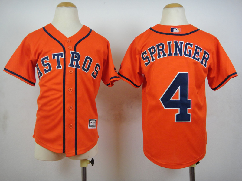 Youth MLB Houston Astros 4 George Springer Orange 2015 Jerseys