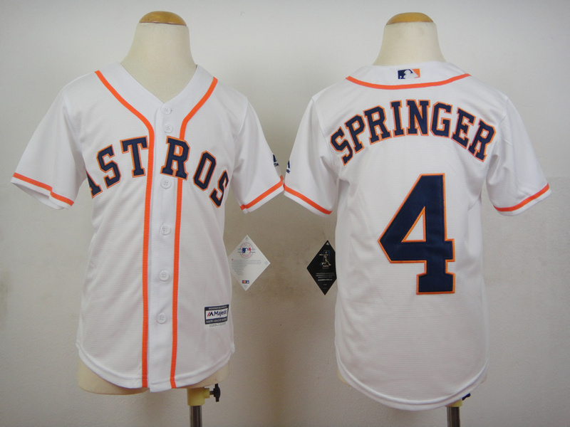 Youth MLB Houston Astros 4 George Springer White 2015 Jerseys
