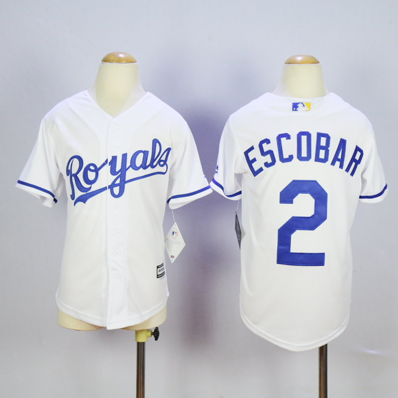 Youth MLB Kansas City Royals 2 Alcides Escobar White 2015 Jerseys