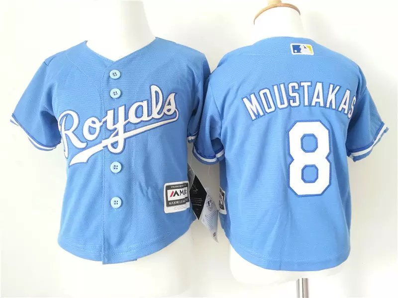 Youth MLB Kansas City Royals 8 Moustakas Blue 2015 Jerseys