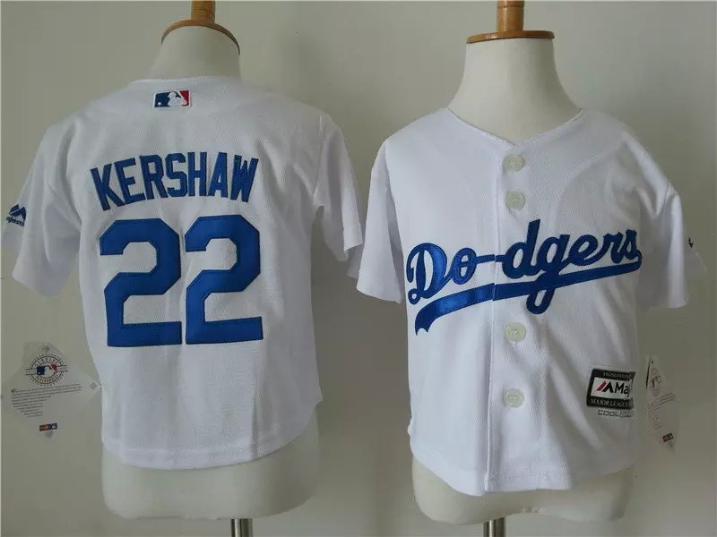 Youth MLB Los Angeles Dodgers 22 kershaw White 2015 Jerseys
