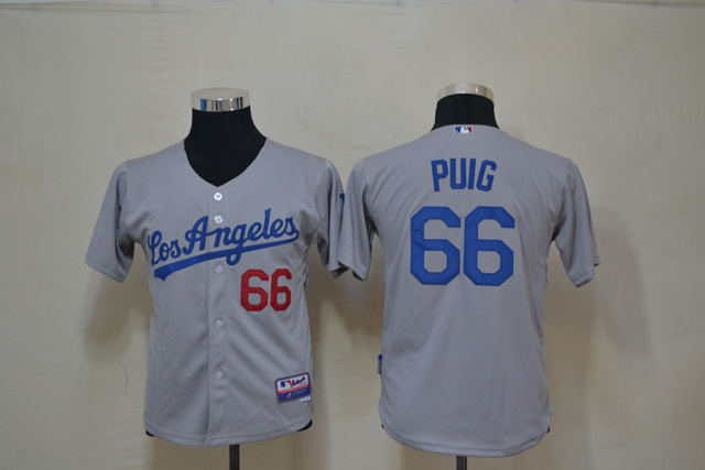 Youth MLB Los Angeles Dodgers 66 Puig Grey Jerseys