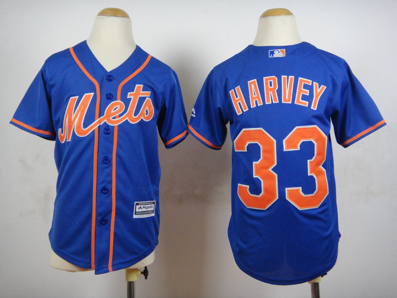 Youth MLB New York Mets 33 Harvey Blue 2015 Jerseys