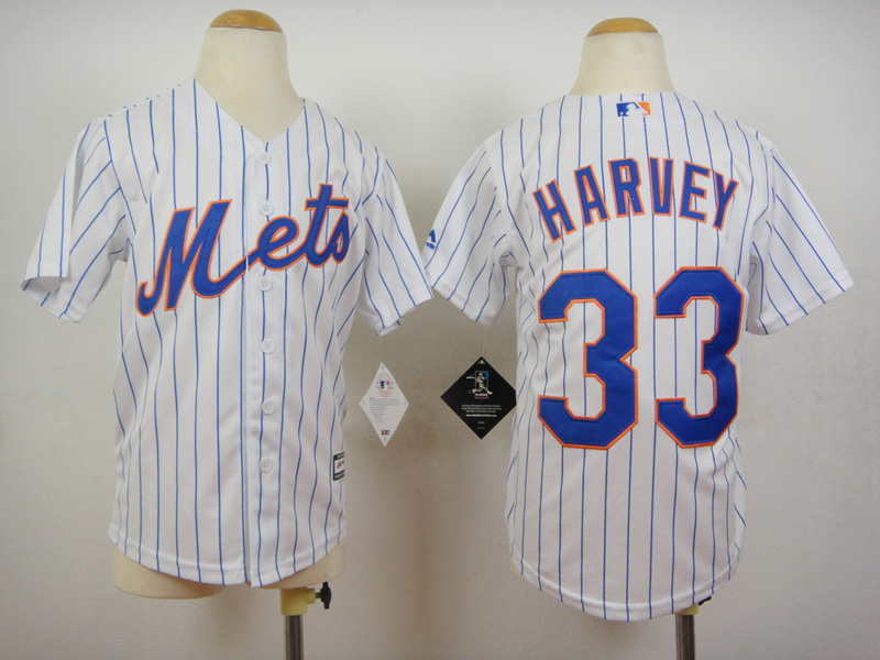 Youth MLB New York Mets 33 Matt Harvey Stripes White 2015 Jerseys