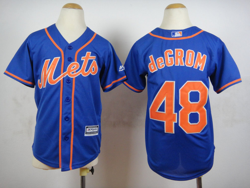 Youth MLB New York Mets 48 Degrom Blue 2015 Jerseys