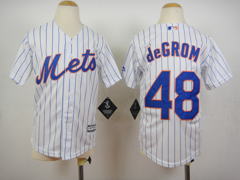 Youth MLB New York Mets 48 Jacob deGrom Stripes White 2015 Jerseys
