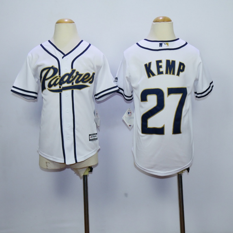 Youth MLB San Diego Padres 27 matt kemp White 2015 Jerseys.