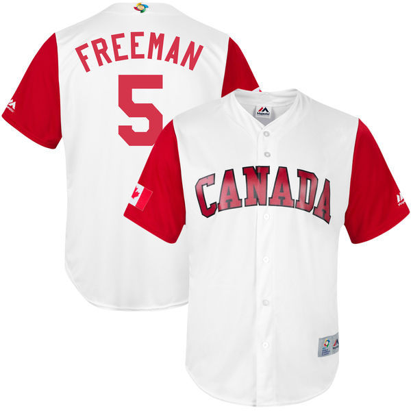customized Men Canada Baseball 5 Freddie Freeman White 2017 World Baseball Classic Replica Jersey