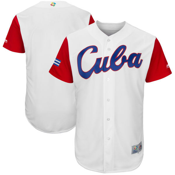 customized Men Cuba Baseball Majestic White 2017 World Baseball Classic Authentic Team Jersey