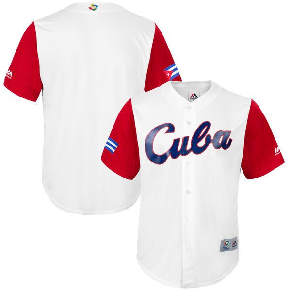 customized Men Cuba Baseball Majestic White 2017 World Baseball Classic Replica Team Jersey