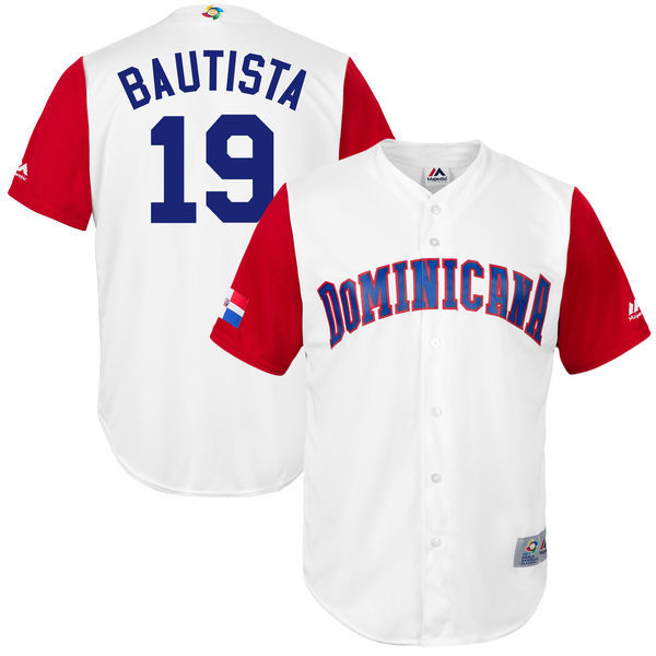 customized Men Dominican Republic Baseball 19 Jose Bautista Majestic White 2017 World Baseball Classic Replica Jersey