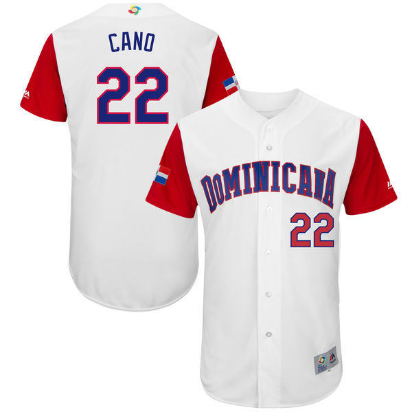 customized Men Dominican Republic Baseball 22 Robinson Cano Majestic White 2017 World Baseball Classic Authentic Jersey