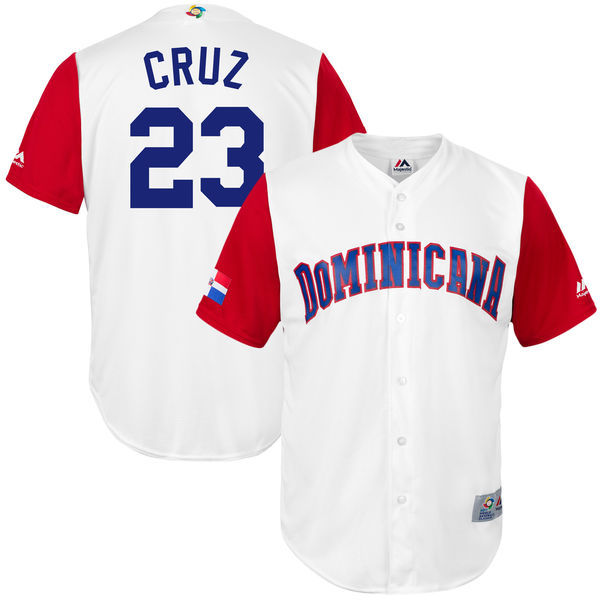 customized Men Dominican Republic Baseball 23 Nelson Cruz Majestic White 2017 World Baseball Classic Replica Jersey