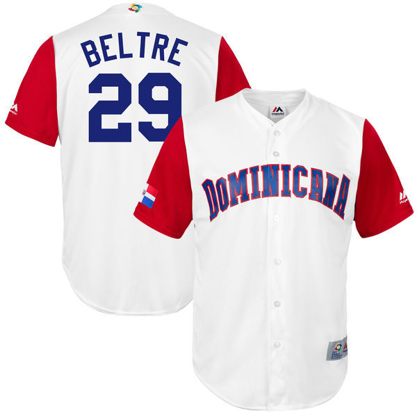 customized Men Dominican Republic Baseball 29 Adrian Beltre White 2017 World Baseball Classic Replica Jersey
