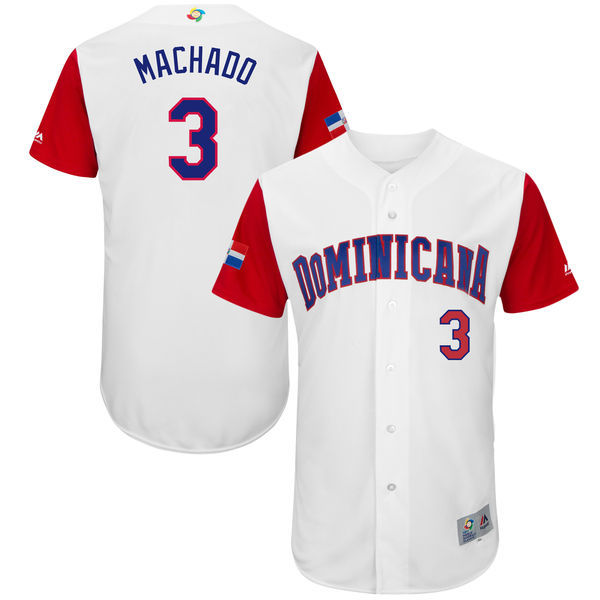 customized Men Dominican Republic Baseball 3 Manny Machado Majestic White 2017 World Baseball Classic Authentic Jersey