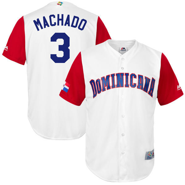 customized Men Dominican Republic Baseball 3 Manny Machado Majestic White 2017 World Baseball Classic Replica Jersey