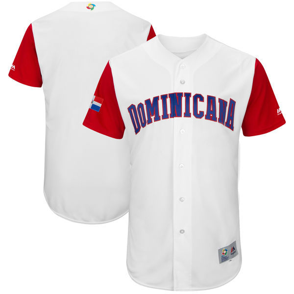 customized Men Dominican Republic Baseball Majestic White 2017 World Baseball Classic Authentic Team Jersey