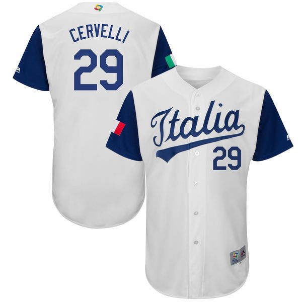 customized Men Italy Baseball Francisco 29 Cervelli Majestic White 2017 World Baseball Classic Authentic Jersey