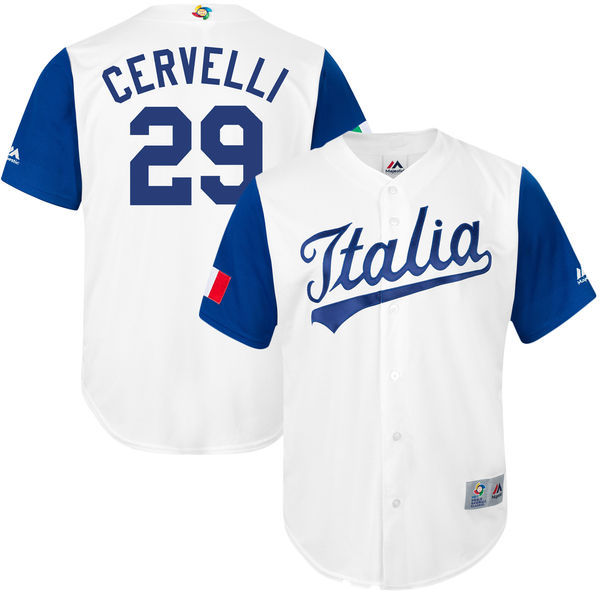 customized Men Italy Baseball Francisco 29 Cervelli Majestic White 2017 World Baseball Classic Replica Jersey