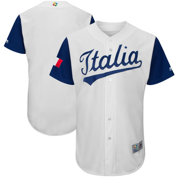 customized Men Italy Baseball Majestic White 2017 World Baseball Classic Authentic Team Jersey
