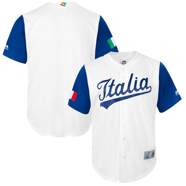 customized Men Italy Baseball Majestic White 2017 World Baseball Classic Replica Team Jersey