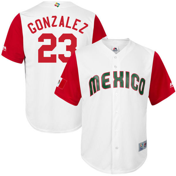 customized Men Mexico Baseball 23 Adrian Gonzalez M White 2017 World Baseball Classic Replica Jersey
