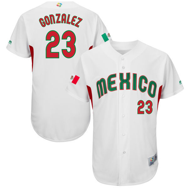 customized Men Mexico Baseball 23 Adrian Gonzalez Majestic White 2017 World Baseball Classic Authentic Jersey