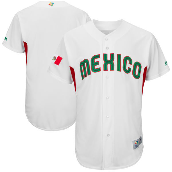 customized Men Mexico Baseball Majestic White 2017 World Baseball Classic Authentic Team Jersey
