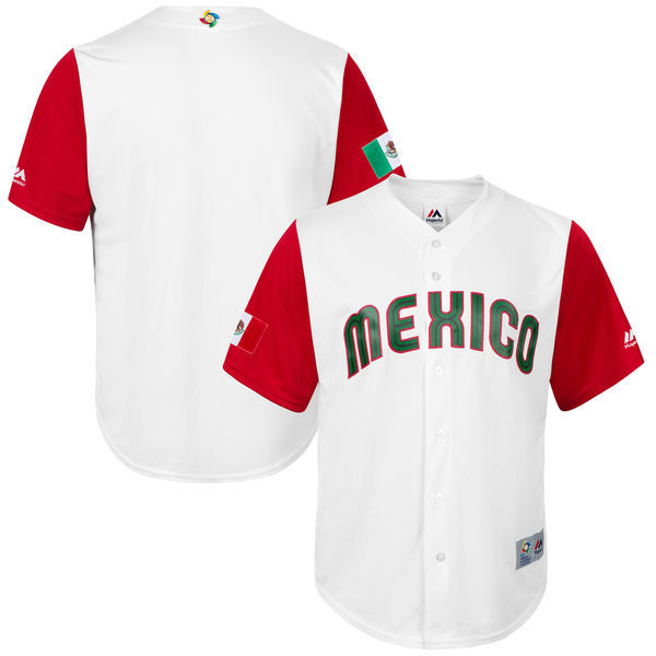 customized Men Mexico Baseball Majestic White 2017 World Baseball Classic Replica Team Jersey
