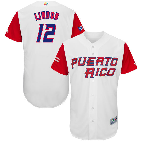 customized Men Puerto Rico Baseball 12 Francisco Lindor White 2017 World Baseball Classic Authentic Jersey