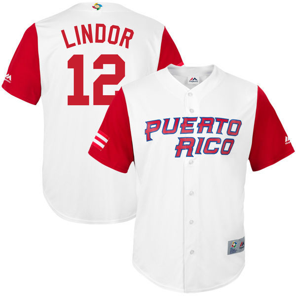 customized Men Puerto Rico Baseball 12 Francisco Lindor White 2017 World Baseball Classic Replica Jersey