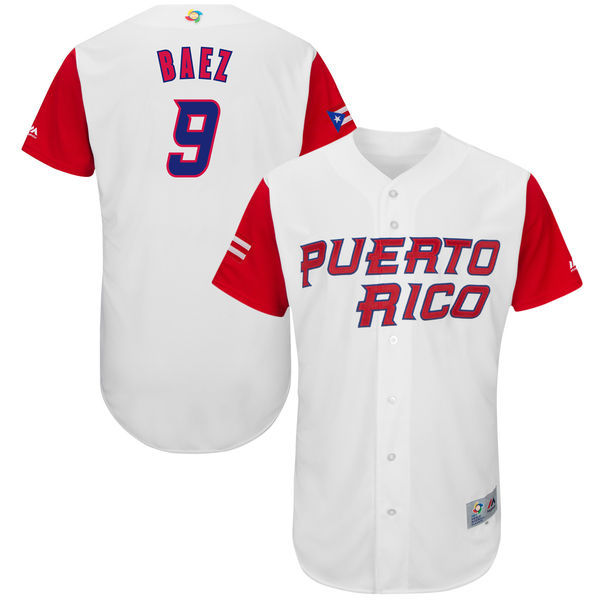 customized Men Puerto Rico Baseball 9 Javier Baez Majestic White 2017 World Baseball Classic Authentic Jersey