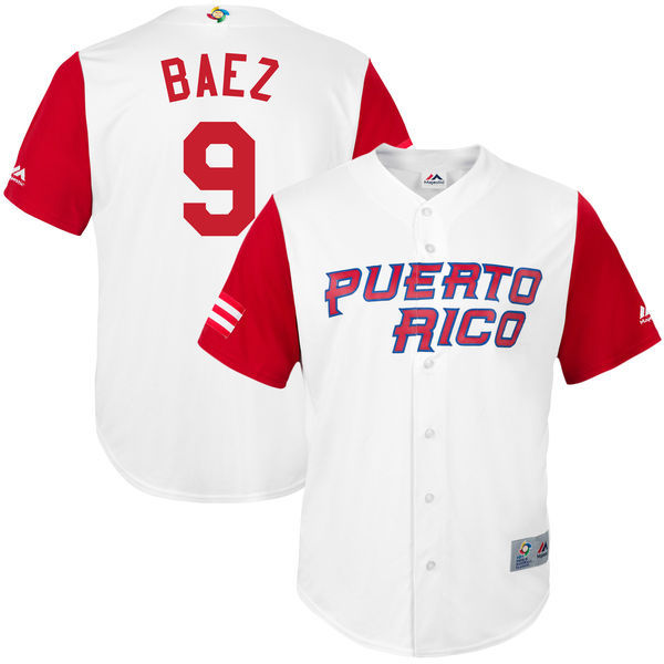customized Men Puerto Rico Baseball 9 Javier Baez White 2017 World Baseball Classic Replica Jersey