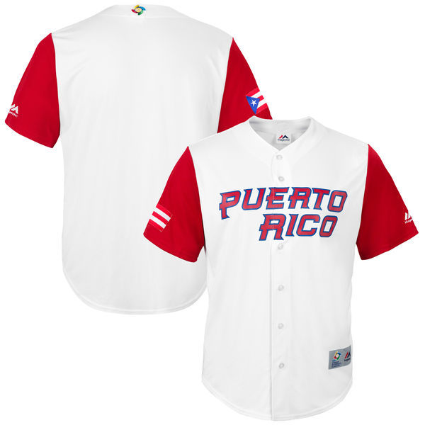 customized Men Puerto Rico Baseball Majestic White 2017 World Baseball Classic Replica Team Jersey