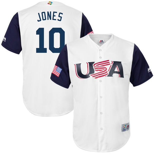 customized Men USA Baseball 10 Adam Jones White 2017 World Baseball Classic Replica Jersey