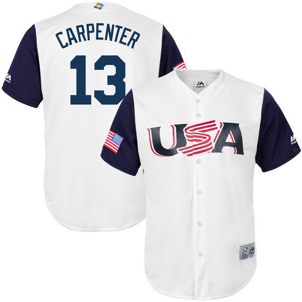 customized Men USA Baseball 13 Matt Carpenter Majestic White 2017 World Baseball Classic Replica Jersey