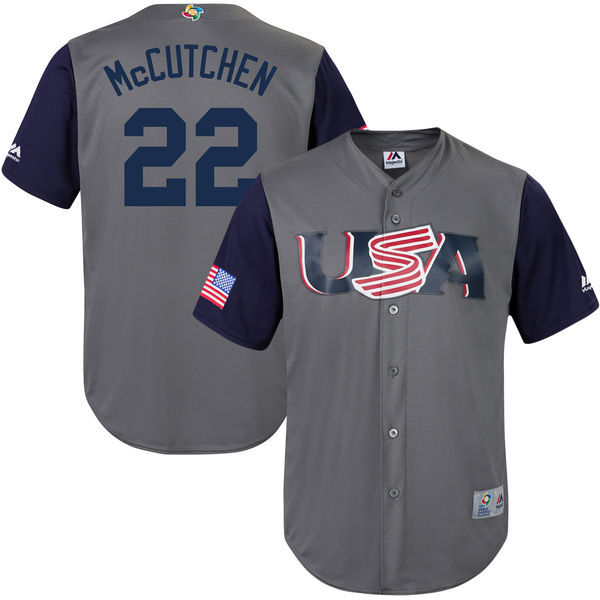 customized Men USA Baseball 22 Andrew McCutchen Majestic Gray 2017 World Baseball Classic Replica Jersey