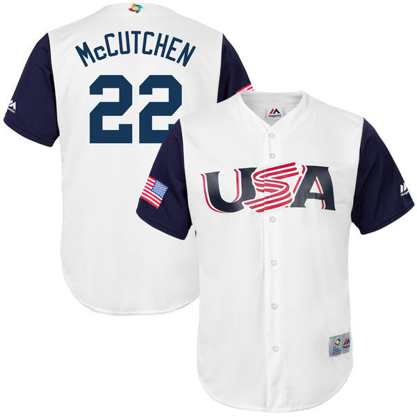customized Men USA Baseball 22 Andrew McCutchen Majestic White 2017 World Baseball Classic Replica Jersey