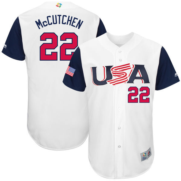 customized Men USA Baseball 22 Andrew McCutchen White 2017 World Baseball Classic Authentic Jersey