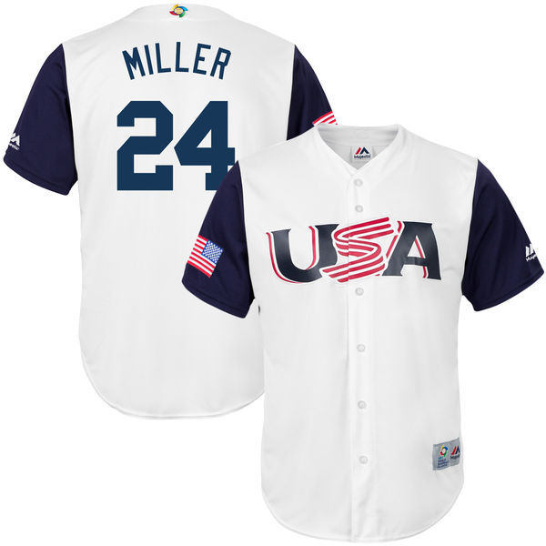 customized Men USA Baseball 24 Andrew Miller White 2017 World Baseball Classic Replica Jersey