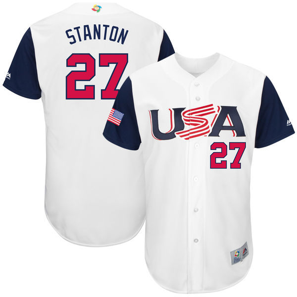 customized Men USA Baseball 27 Giancarlo Stanton Majestic White 2017 World Baseball Classic Authentic Jersey