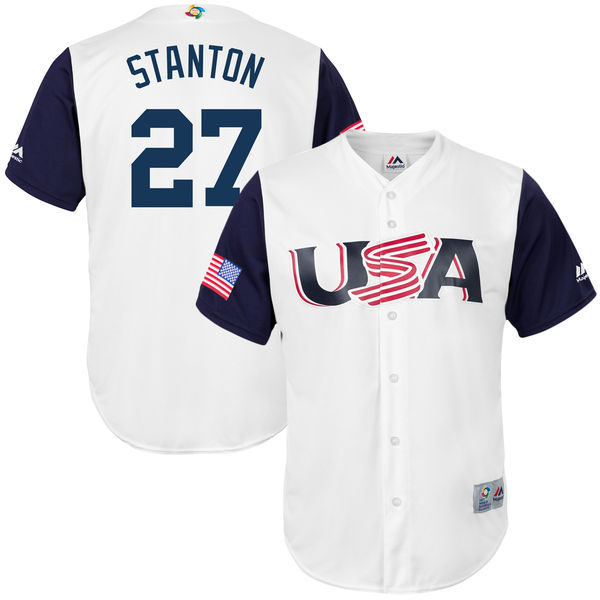 customized Men USA Baseball 27 Giancarlo Stanton Majestic White 2017 World Baseball Classic Replica Jersey