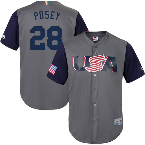 customized Men USA Baseball 28 Buster Posey Gray 2017 World Baseball Classic Replica Jersey
