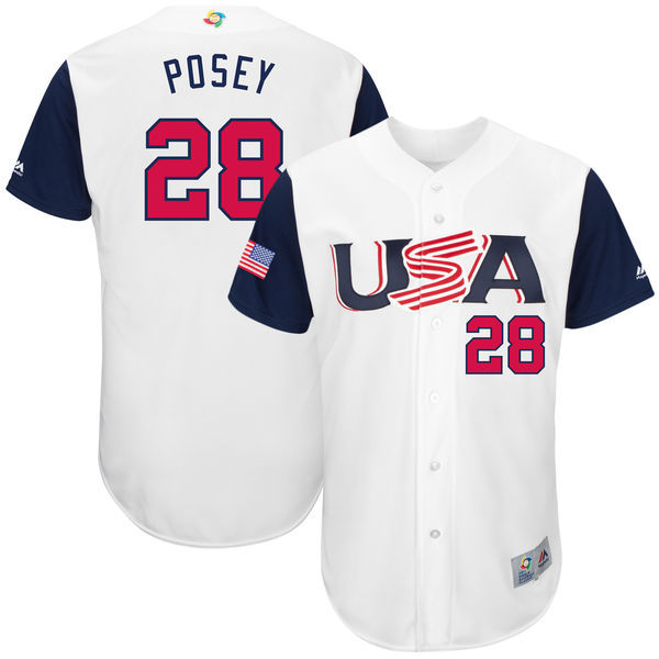 customized Men USA Baseball 28 Buster Posey Majestic Gray 2017 World Baseball Classic Authentic Jersey