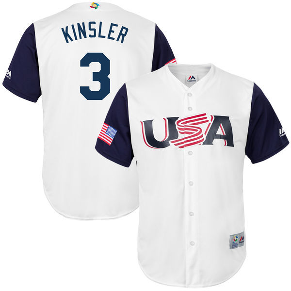 customized Men USA Baseball 3 Ian Kinsler Majestic White 2017 World Baseball Classic Replica Jersey